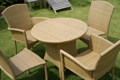 Rattan Table and Chairs Royalty Free Stock Photos