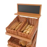 Rattan Trade equipment for the sale of bread. On white. 3D illustration. Rattan Trade equipment for the sale of bread. On white background. 3D illustration Royalty Free Stock Images