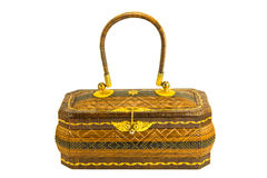 Rattan traditional basketry handbag Royalty Free Stock Images