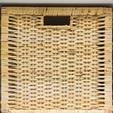 Rattan weave close-up. Packaging for clothes and hats. Large and small boxes. Antique design. Packaging for hats. Straw stock image