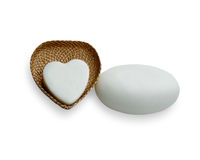 Rattan weave, heart-shaped box Stock Photos