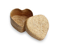 Rattan weave, heart-shaped box Stock Images