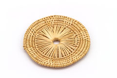 Rattan weave mat on a white background Stock Photography