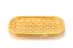 Rattan weave  trays isolated on white background with clipping p Stock Photos