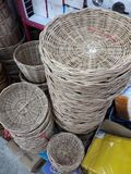 Rattan wicker basket is a household item such as fruit basket stock photo