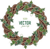Rattan wreath entwined with ivy. On white, vector illustration, eps-10 Stock Photo