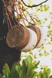Rattang påsar som hänger på ett tropiskt träd Bali ö Organiskt material Ecobag arkivfoto