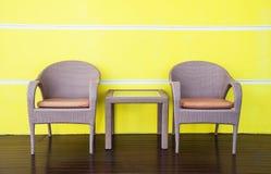 Rattans krzesła i stoły Obrazy Stock