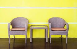 Rattans tables and chairs Stock Images