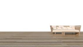 Rattansofa mit weißer Wiedergabe Hintergrund u. Bretterboden/3D Lizenzfreies Stockfoto