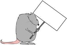 Ratte, die ein Zeichen anhält Stockfotos