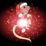 Ratte mit Weihnachtshintergrund und Grußkartenvektor Lizenzfreies Stockfoto
