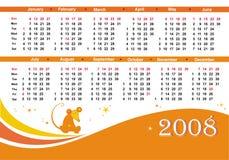 Rattekalender mit 2008 Orangen Lizenzfreie Stockbilder