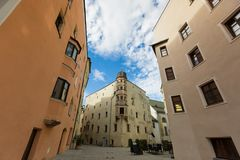 View of buildings, street area of medieval town of Rattenberg, A. RATTENBERG, AUSTRIA - SEPTEMBER 2017 : View of buildings, street area of medieval town of Royalty Free Stock Photography