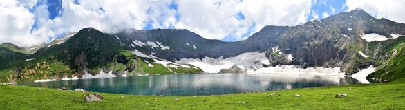 Ratti Gali Lake Kashmir Pakistan Panorama!. The Ratti Gali Lake is an alpine glacial lake which is located in Neelum Valley, Azad Kashmir, Pakistan at an stock photos