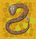 Rattlesnake. On dry land is ready to attack vector illustration