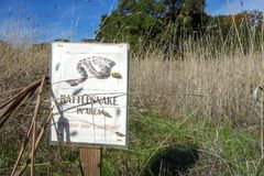 Rattlesnake danger sign in California wine country. A sign cautions hikers to rattlesnake danger in Sonoma County wine country at Jack London State Historic Park royalty free stock image