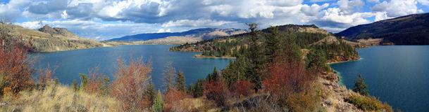 Rattlesnake Point at Kalamalka Lake, Okanagan Valley, British Columbia. Panoramic view of the Rattlesnake Point headland jutting dramatically into Kalamalka Lake Royalty Free Stock Photos