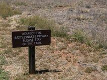 Rattlesnake Warning Sign. A rattlesnake warning sign in the desert of New Mexico Royalty Free Stock Image