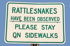 Rattlesnake Warning Sign Stock Photography