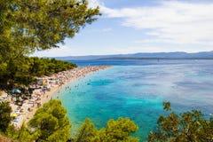 Ratto di Zlatni della spiaggia in Bol, Croazia Fotografie Stock Libere da Diritti