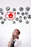 Ratuje pieniądze dom ilustracja wektor