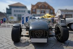 RATZEBURG, GERMANY - JUNE 2, 2019: Lotus Super 7 is a lightweight two-seater open-top sports car, a classic automobile at the. Oldtimer meeting in Ratzeburg royalty free stock photos