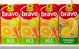 Rauch Bravo Juice on the shelf in a supermarket in Italy Stock Photography