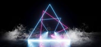 Rauch, den elegantes Dreieck Neon- Leuchtstoff Retro- Laser formte, führte Show-Stadiums-vibrierendes blaues Purpur-glühende Li stock abbildung