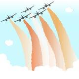 Rauch-Farbhimmel-Flugzeug-Parade-Gruppen-Flugzeug-Fliegen-Frieden Joy Vector Illustration Stockfotos