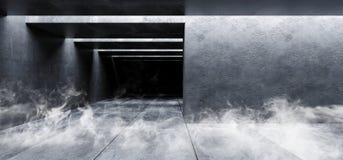 Rauch-Nebel-Dampf-Schmutz-konkrete moderne leere Raum-Garagen-Untertagetunnel-Galerie-weiße glühende Schatten dunkel und helles m vektor abbildung