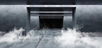 Rauch-Nebel-Dampf-Schmutz-konkrete moderne leere Raum-Garagen-Untertagetunnel-Galerie-weiße glühende Schatten dunkel und helles m lizenzfreie abbildung