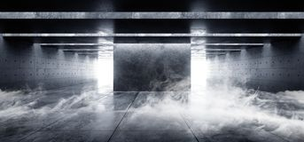 Rauch-Nebel-Dampf-Schmutz-konkrete moderne leere Raum-Garagen-Untertagetunnel-Galerie-weiße glühende Schatten dunkel und helles m stock abbildung