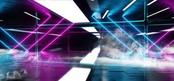 Rauch-Nebel-Neonleuchtstofflaser führte modernen dunklen leeren Raum psychedelische Garage eleganten futuristischen Sci FI mit m stock abbildung