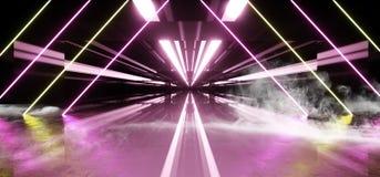 Rauch-Neonleuchtstofflaser führte modernen dunklen leeren Raum psychedelische Garage eleganten futuristischen Sci FI mit mit Zie lizenzfreie abbildung