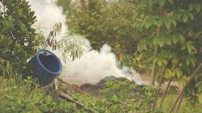 Rauch von brennendem Gras im grünen Garten - Vietnam Coutryside lizenzfreie stockfotos