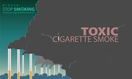 Rauch von den Zigaretten wird Verschmutzung gemacht Stockfotografie
