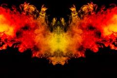 Rauch von verschiedenen orange und roten Farben in Form von Grausigkeit in Form des Kopfes, des Gesichtes und des Auges mit Flüge stock abbildung