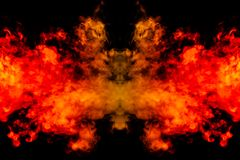 Rauch von verschiedenen orange und roten Farben in Form von Grausigkeit in Form des Kopfes, des Gesichtes und des Auges mit Fl?ge stock abbildung