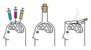 Rauchen, Drogenabhängigkeit, Alkoholismus. lizenzfreies stockbild