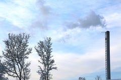 Rauchen Sie das Kommen vom Fabrikrohr an einem Wintertag stockbild