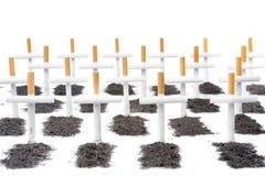 Rauchende Abbrüche, Raucher-Friedhofkonzept Stockbild