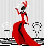 rauchende Dame im Rot Stockbilder