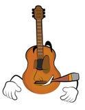 Rauchende Gitarrenkarikatur Stockbilder