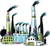 Rauchende Industrie-Gebäude Stockbild