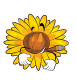 Rauchende Sonnenblumenkarikatur Lizenzfreies Stockfoto