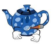 Rauchende Teekannenkarikatur Lizenzfreie Stockfotos
