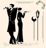 rauchender Mann und Frau Stockbild