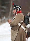 Rauchender russischer Soldat Stockfoto