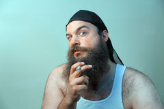 Rauchender weißer reaktionärer Hinterwäldler Lizenzfreie Stockbilder